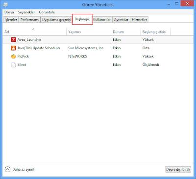 Windows 8 başlangıçta çalışan bir programı iptal etmek için (Resimli anlatım)