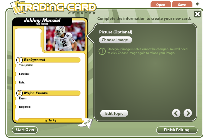 Trading card creator online