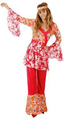 chica disfrazada de hippie