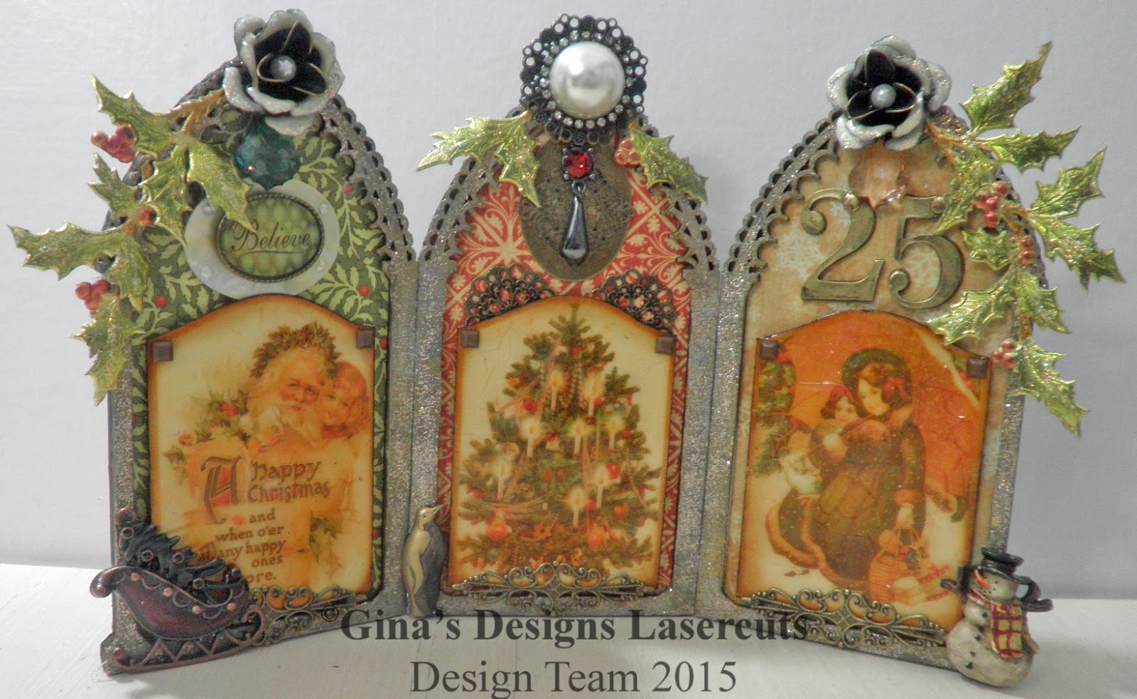Ginas Designs: Vintage Style Christmas Triptych
