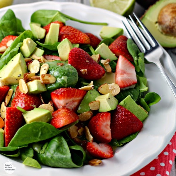 Strawberry, Avocado and Spinach Salad with Lime Poppyseed Dressing