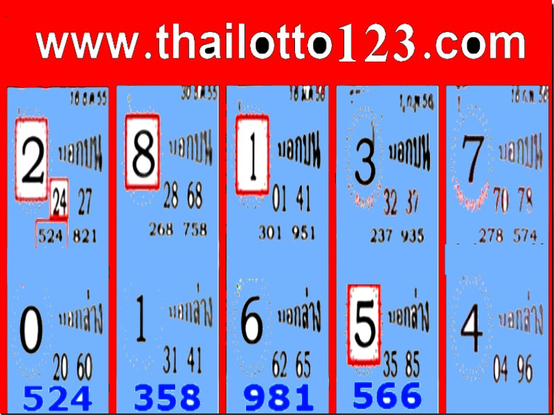 Tip Paper Thai Lottery Lotto Tass Tips