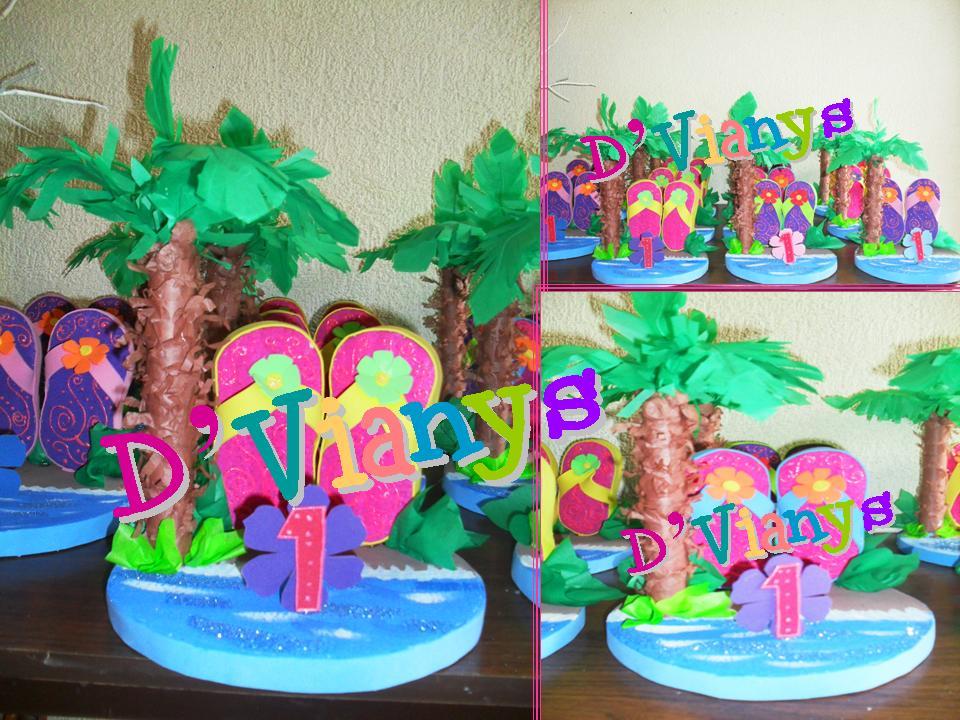 Decoracion Hawaiana Para Mesas ~ Fiesta Hawaiana, centros de Mesa, detalle de peque?as chanclitas, se
