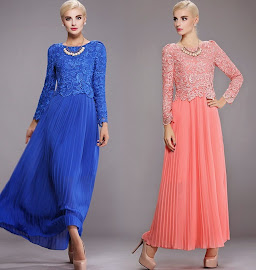 Fake Two Piece Long Sleeve Crochet Top Pleated Maxi Dress