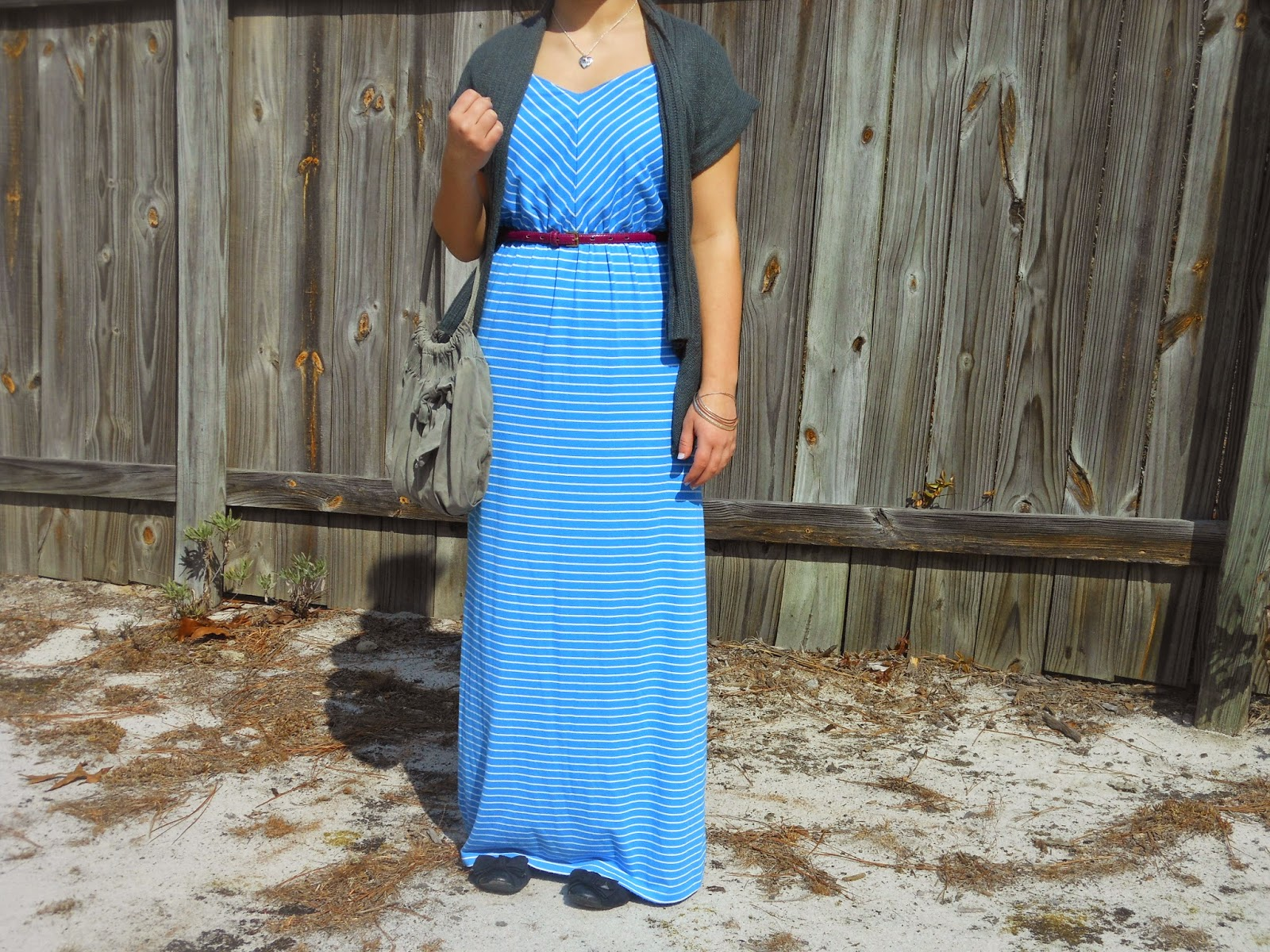 Mix it Monday: Blue Maxi Dress. Blue maxi dress, grey sweater, purple belt, black flats, grey purse.