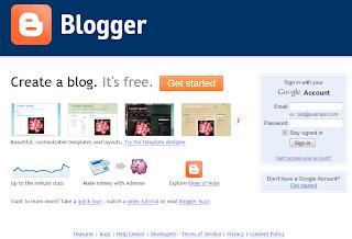 Blogger.com Login Page