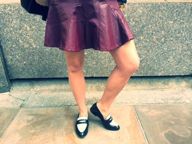 faux leather skirt, vegan leather skirt, Michael Kors loafers, black and white flats, black and white penny loafers, mens loafers