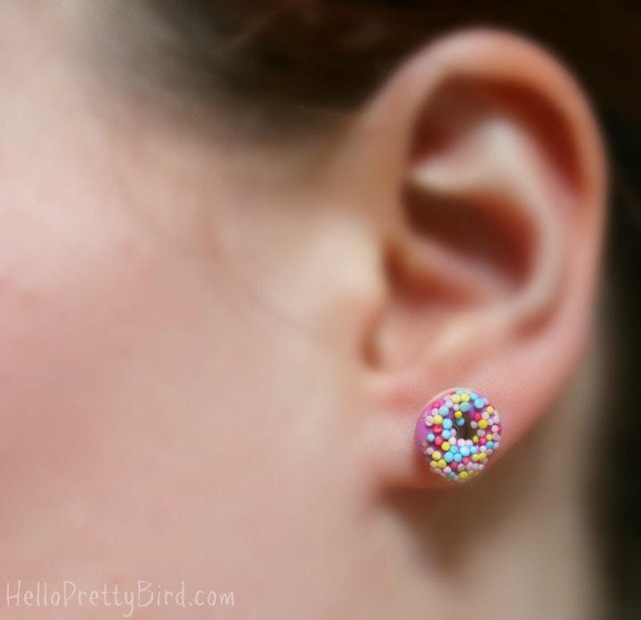 Jillicious Charms and Accessories candy sprinkle donut earrings pink