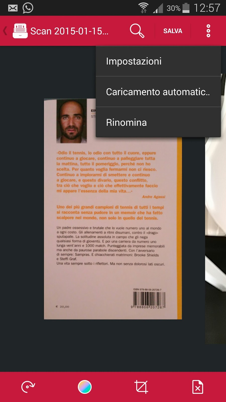 il menu a tenina che apparira' premendo apposito tasto nella schermata di avvenuta acquisizione documenti di scanbot