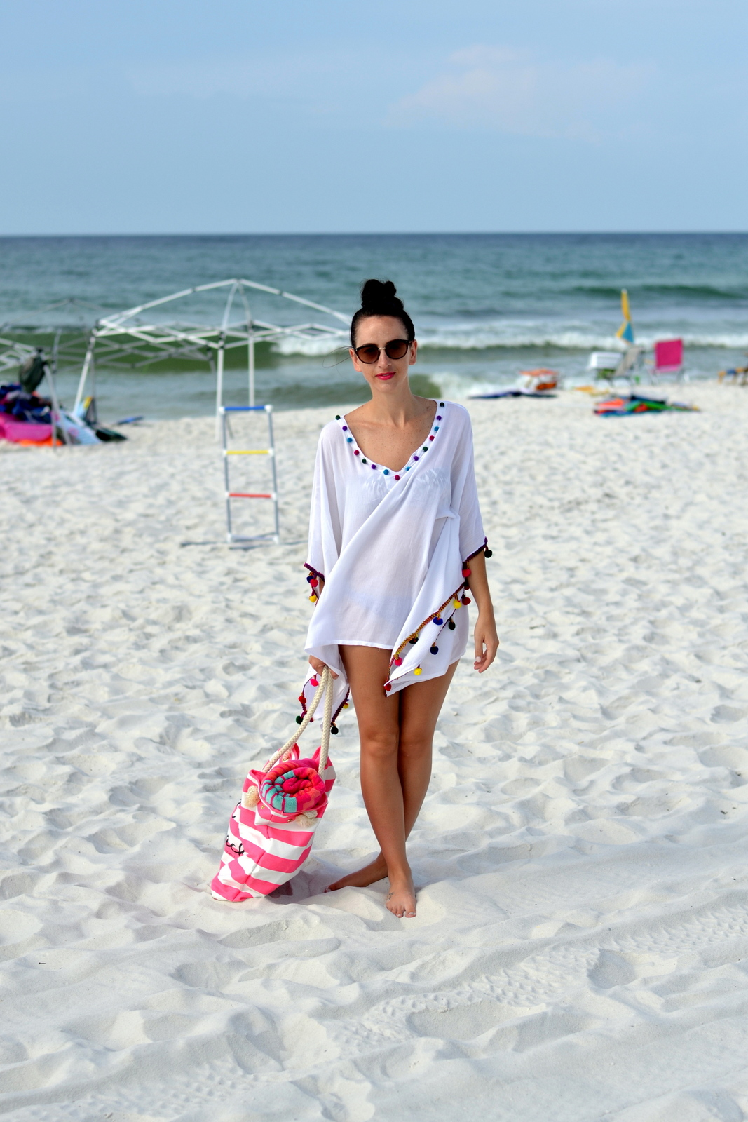 Beach coverup, sunnies and beach bag