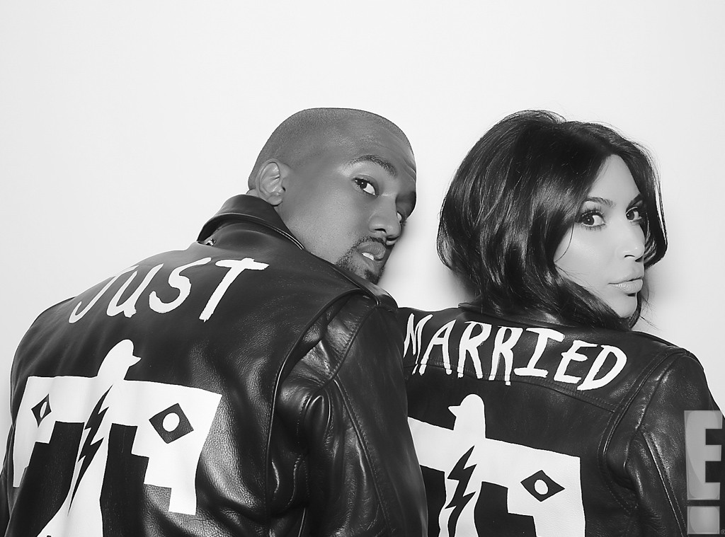 "Kim Kardashian and Kanye West wear ""Just Married"" Jackets"