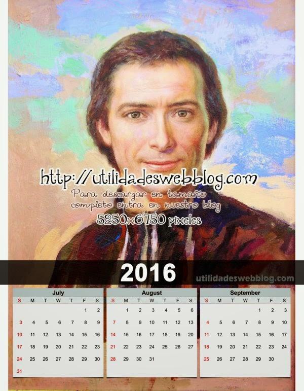 Calendario católico trimestral 2016 Julio Agosto y Septiembre para imprimir de Marcelino Champagnat