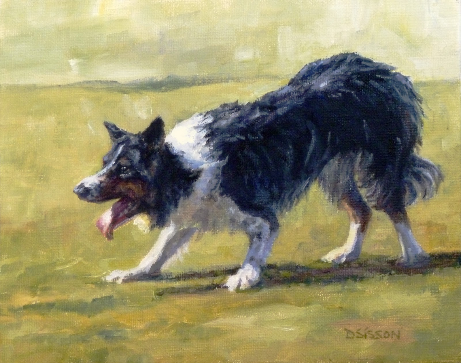 Daily Painting Projects: Frisbee Dog Oil Herding Dog Pet Art ...