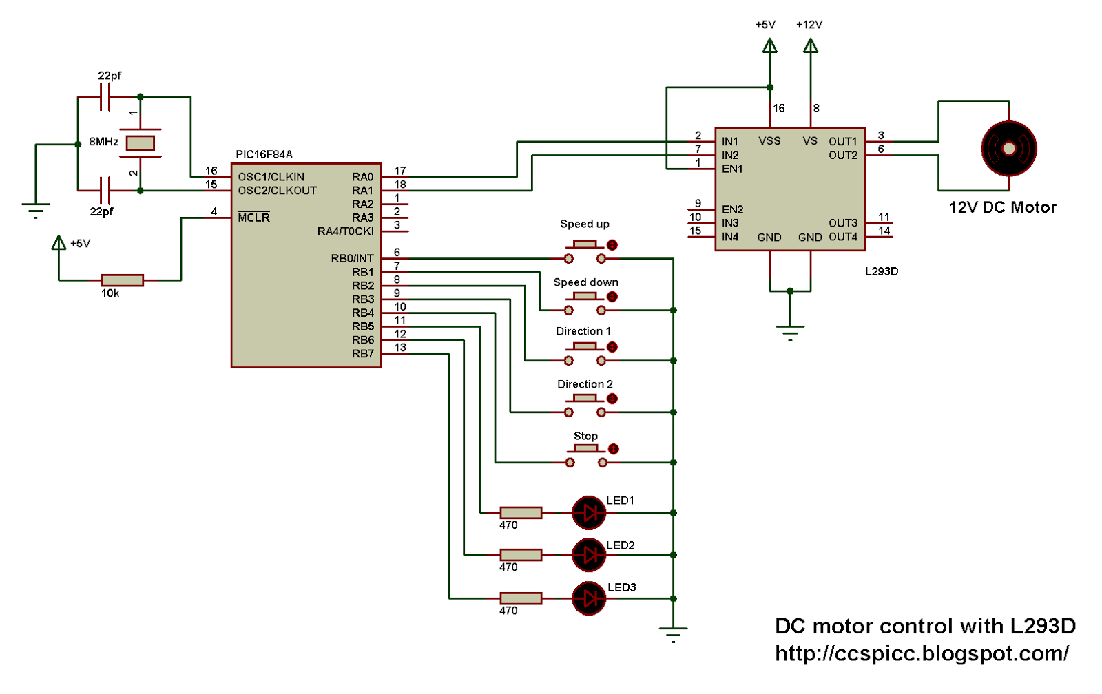 Dc Motor Control With Pic16f84a And L293d