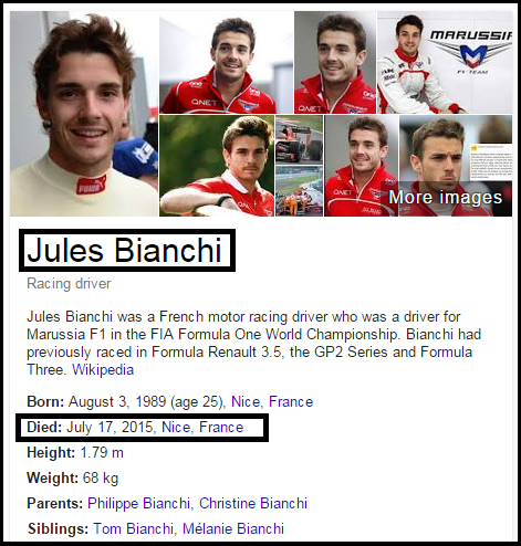 French Formula 1 Driver Jules Bianchi Died After long Fight Against Injuries During Japanese Gran Prix Last October