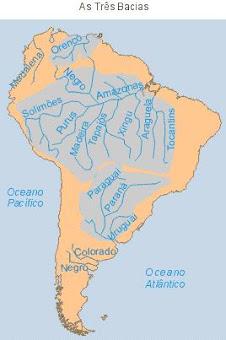as três bacias hidrográficas da América do Sul