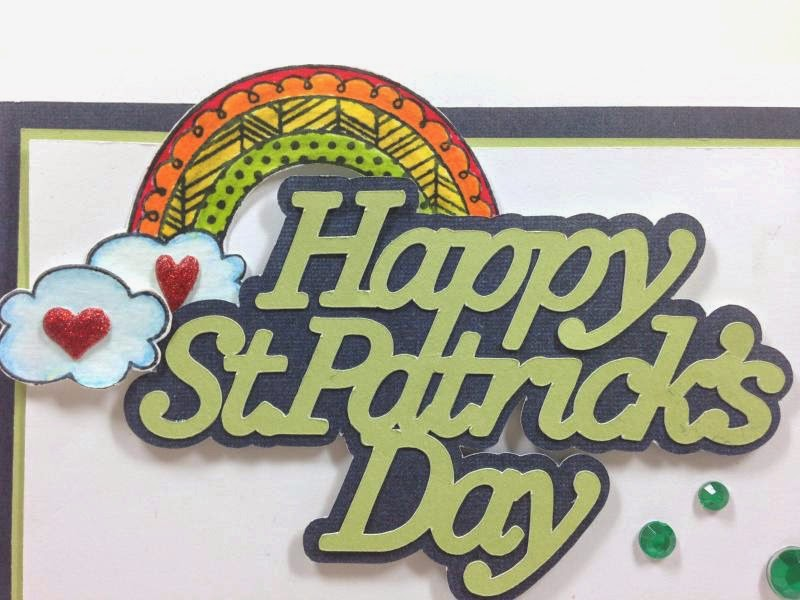 Cricut Artfully Sent St. Patrick's Day card closeup