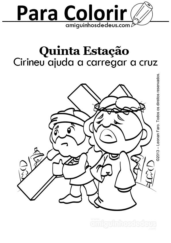Cirineu ajuda a carregar a cruz desenho