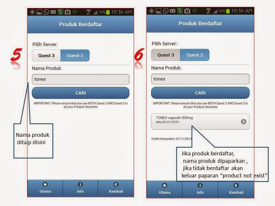 cara menyemak produk kesihatan berdaftar, aplikasi Myhealth