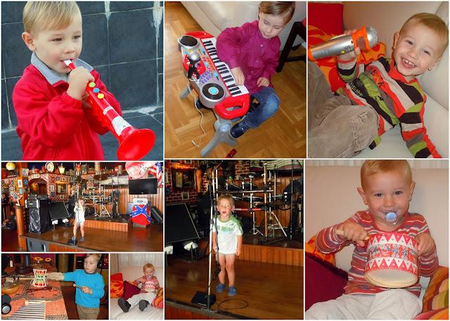 niño con diversos instrumentos musicales