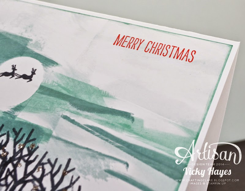 Finishing the handmade card with a greeting from Making Spirits Bright