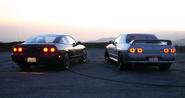 Nissan 180SX & Nissan Skyline GT-R R32, japoński sportowy samochód, coupe, RWD, AWD, godzilla, driftowóz, JDM