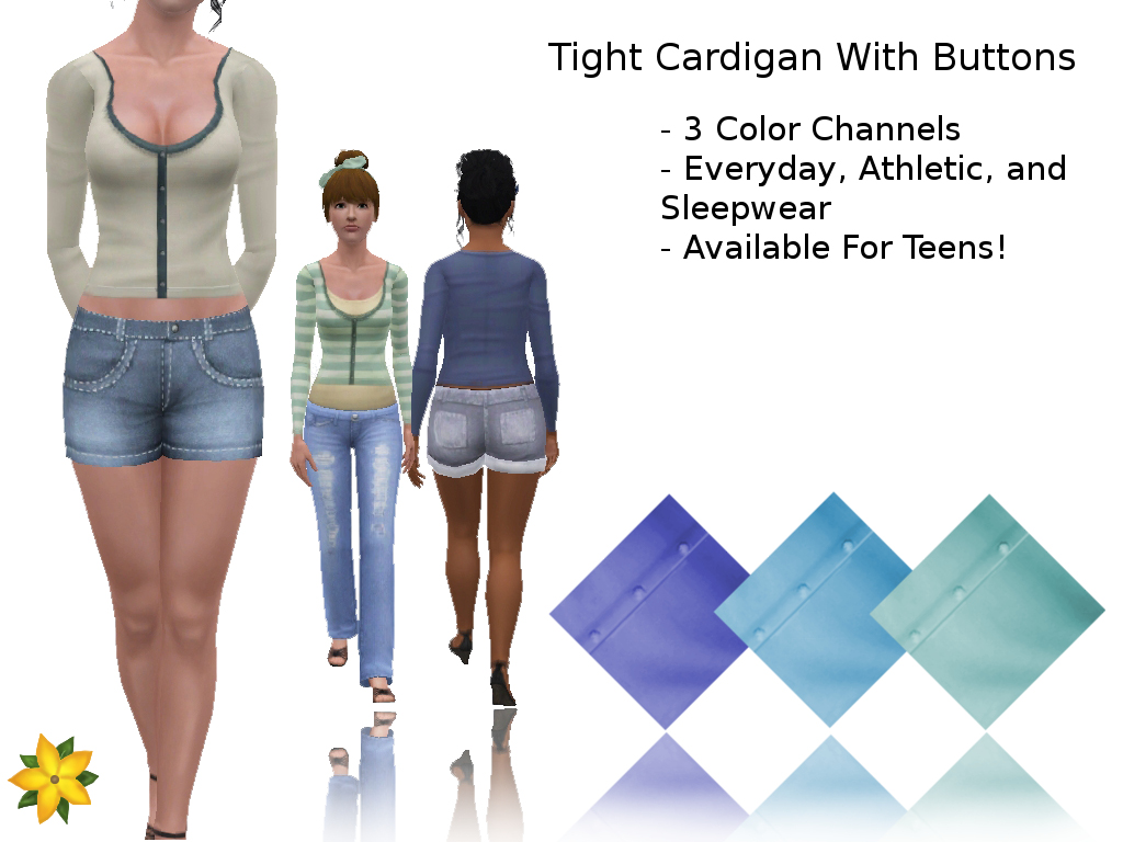 Tight Cardigan With Buttons Set by Candy Lover