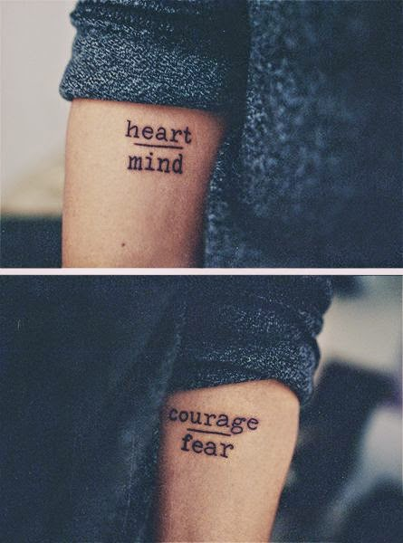 ♥ ♫ ♥heart over mind, courage over fear | by fabian dean @ tattooshop friendship; amsterdam, the netherlands!.♥ ♫ ♥