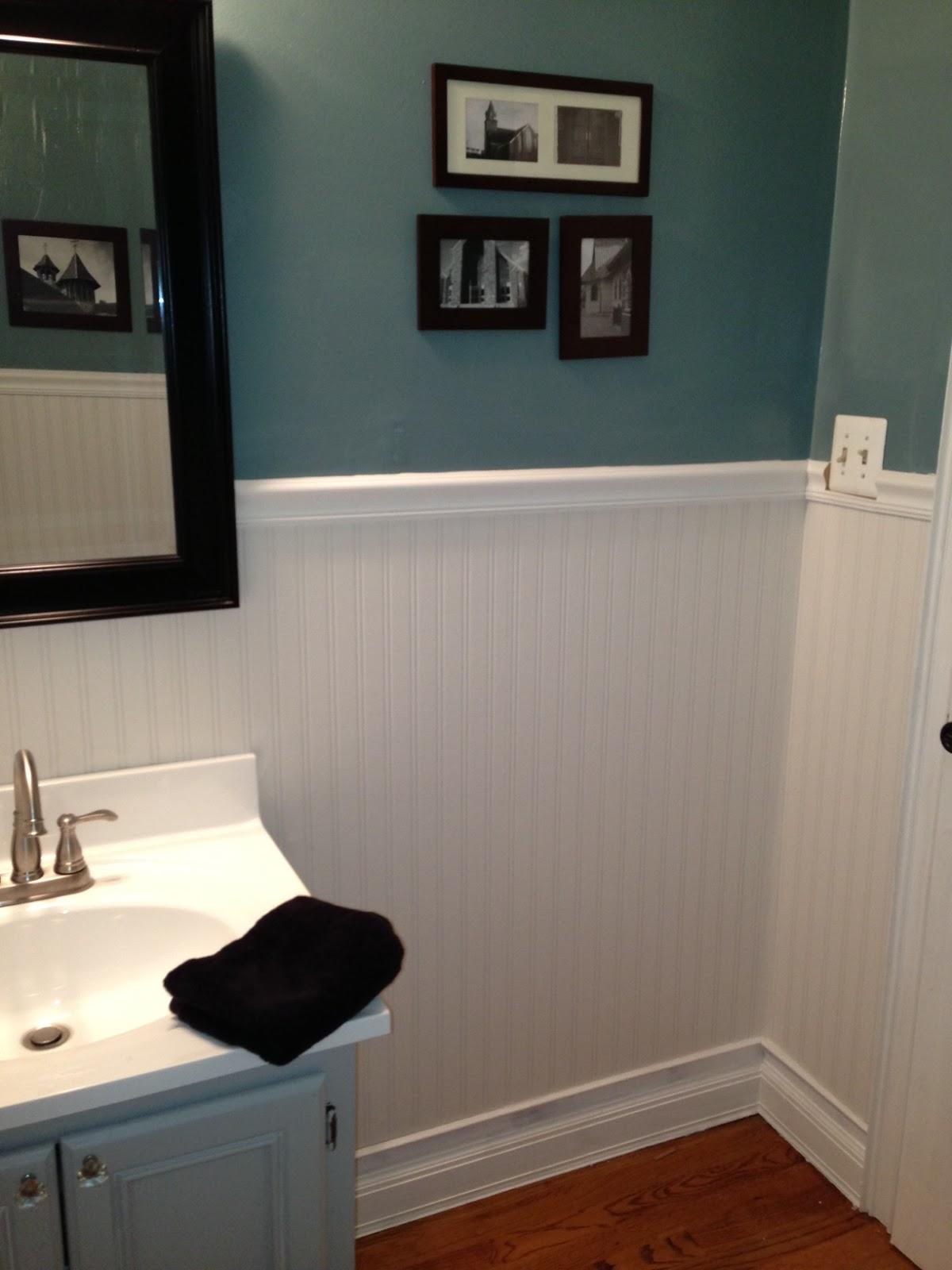 Little Brick Home House Tour. Textured Wallpaper Bathroom