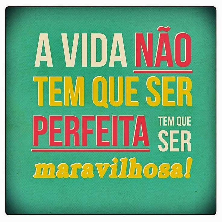 A vida não tem que ser perfeita, tem que ser maravilhosa.