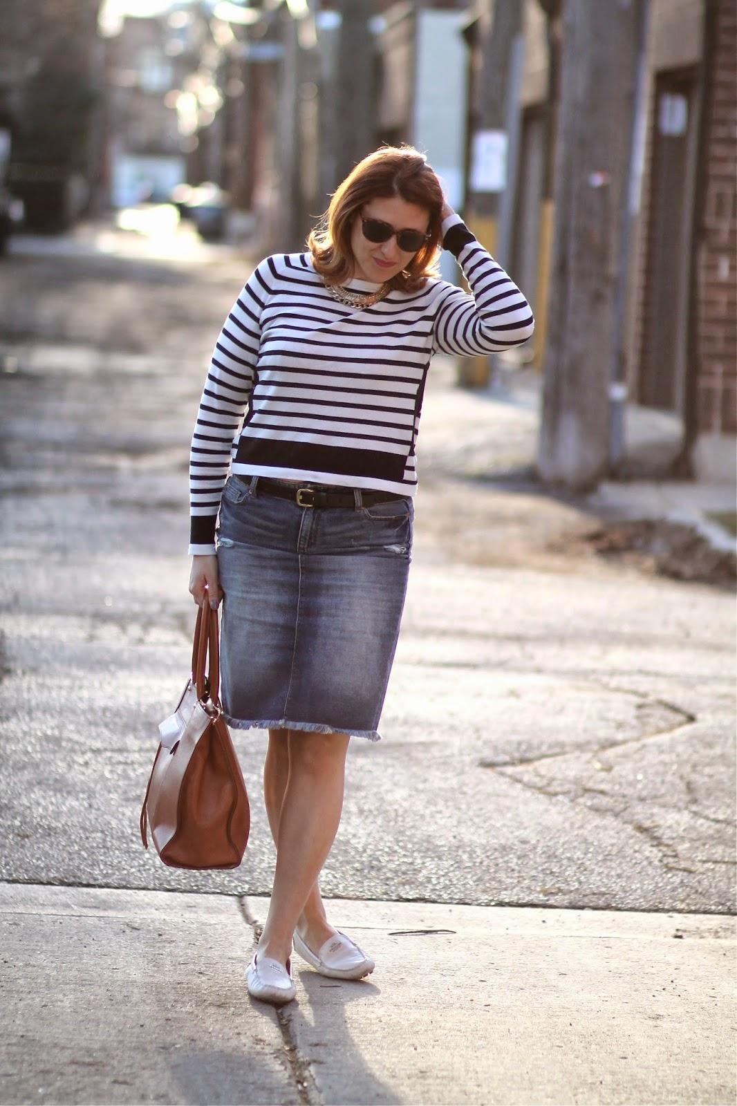striped, sweater, h&m, Joe, fresh, denim, pencil, skirt, distressed