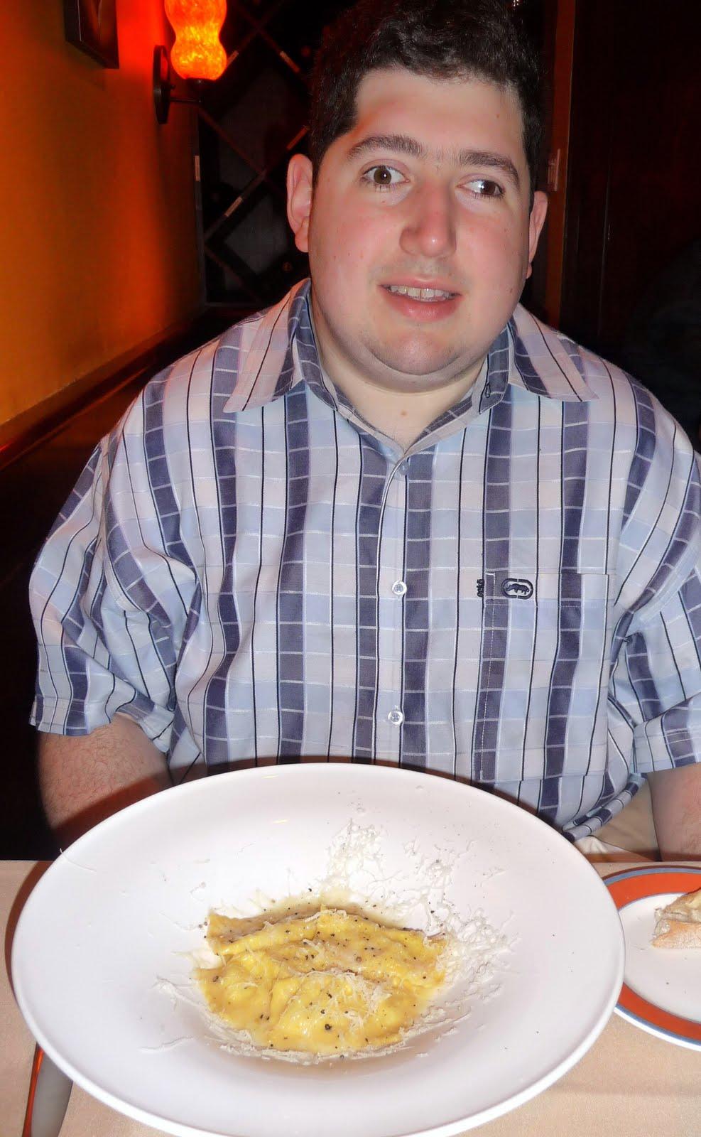 Daniel Aronoff sitting across the table from me at Felidia, waiting to taste his pecorino ravioli