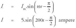 rangkaian ini arus tertinggal π/2rad terhadap tegangan