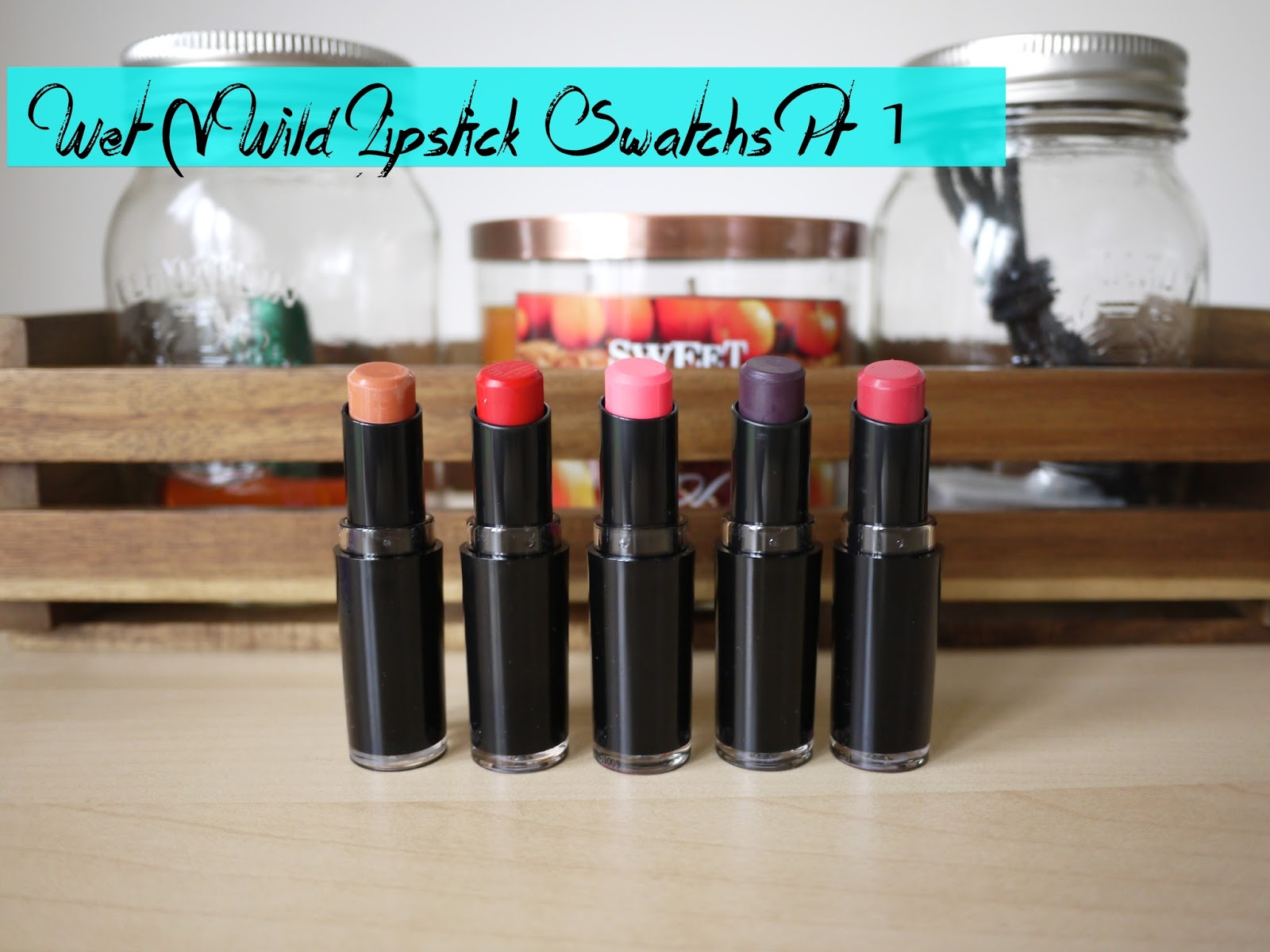 Wet N Wild Megalast Lipstick Swatches (Pink Suga, Stoplight Red, Pinkerbell, Vamp It Up, Wine Room)