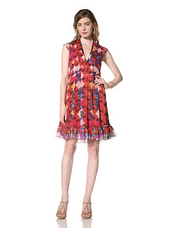 MyHabit: Up to 60% off Desigual: Nimfa Dress - Semi-sheer printed empire waist dress with solid under layer, pleat detail at bodice, back tie, tiered ruffle hem