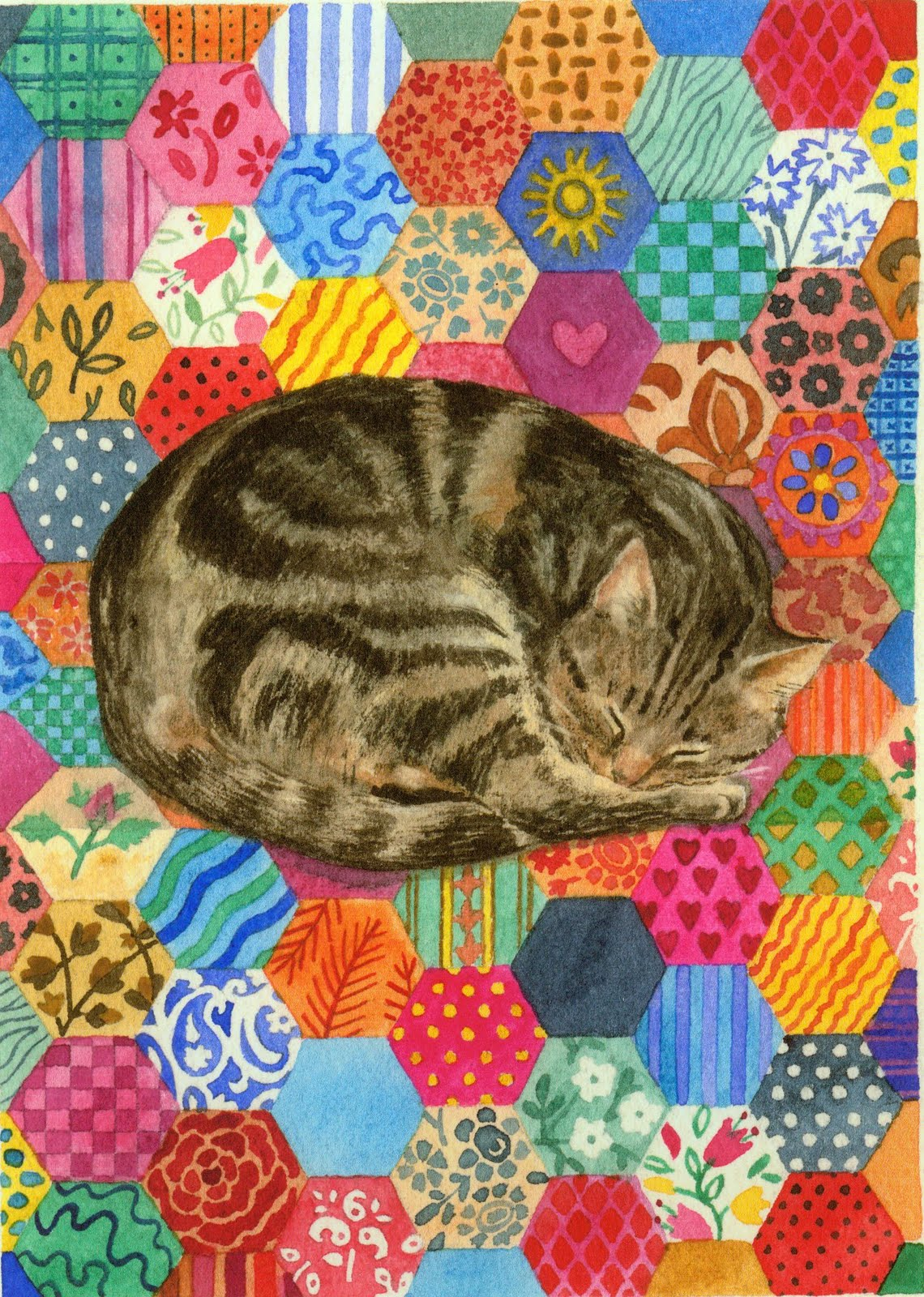 Jumping in Puddles: Patchwork Cat