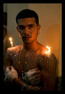 man with candles