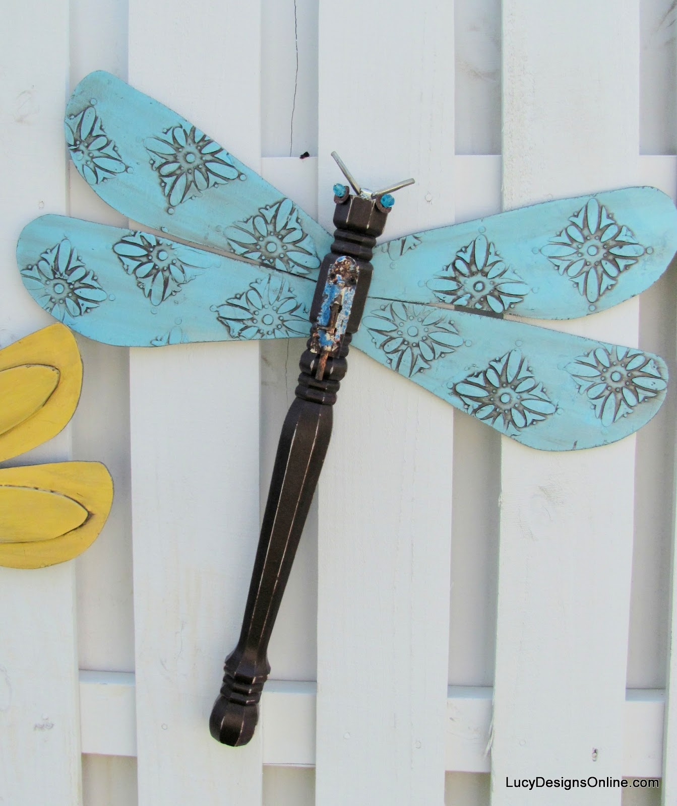 blue textured wing table leg dragonfly