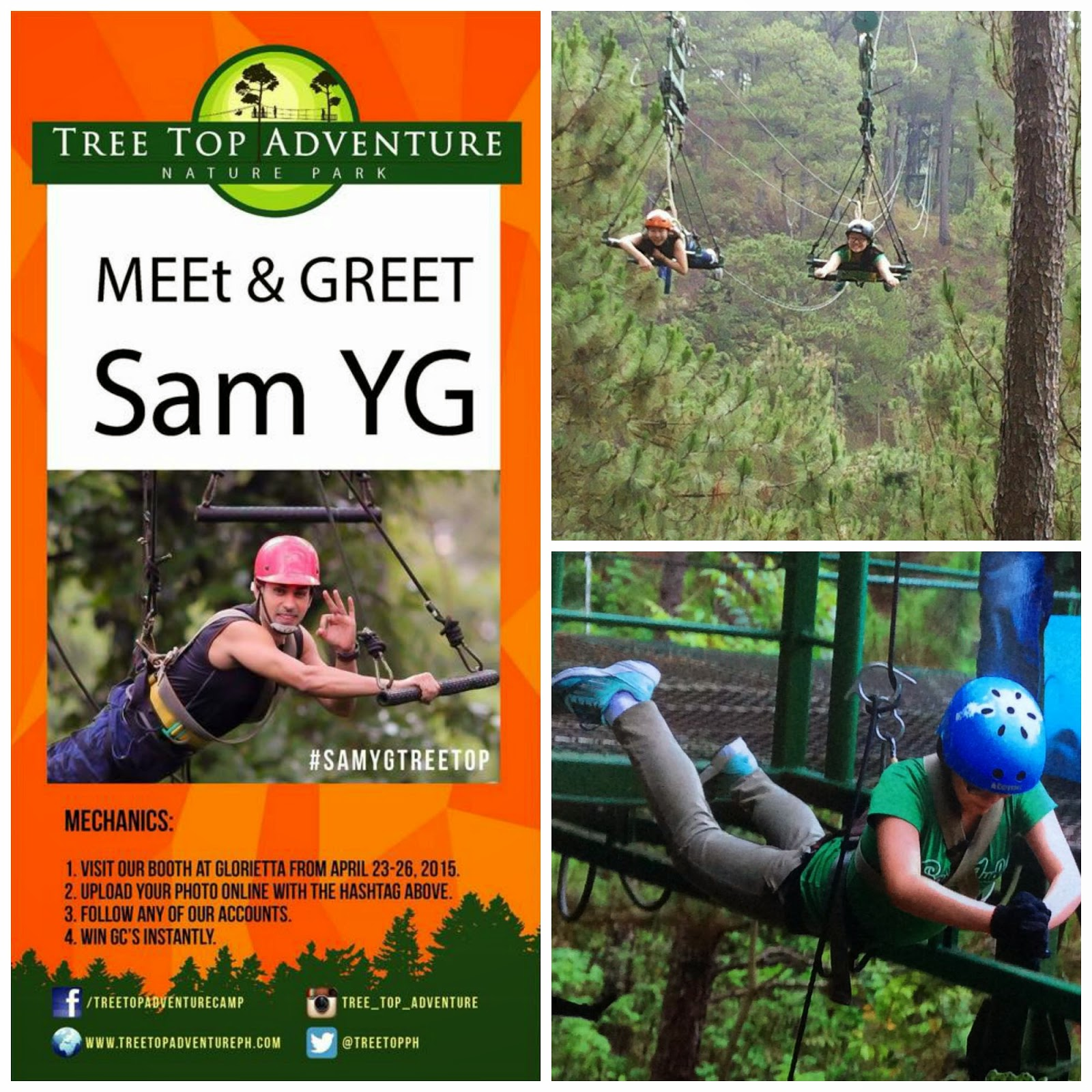 Tree top adventure meet greet with sam yg viva manilena the vip event is in partnership with wrangler exciting activities and prizes awaits everyone simply visit the booth take photos selfie and upload it on m4hsunfo