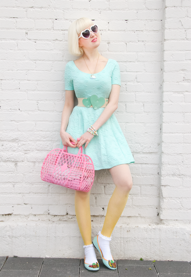 Mint dress, pastel look, mermaid look
