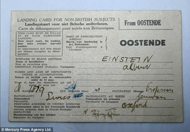 The landing card bears Einstein's signature, has his profession as 'professor' and lists his nationality at Swiss