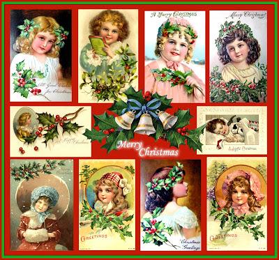 collage Navidad vintage en inglés