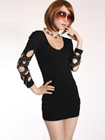 Dress with Cut Out Patterned Sleeves