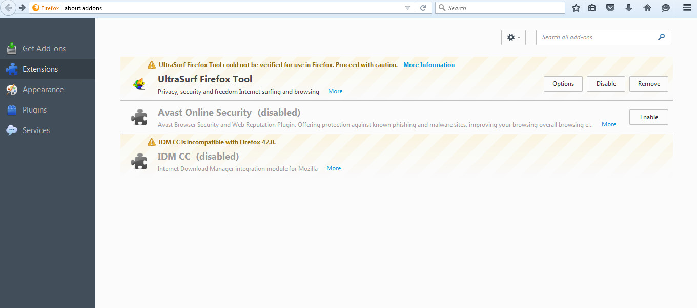 Use ultrasurf to access blocked websites techiax now click add ons and go to extensions on the preceding window ccuart Gallery