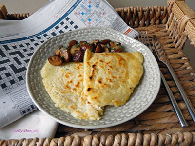 Gluten-free Potato Farls with Sautéed Mushrooms - Vegetarian Cooked Breakfast