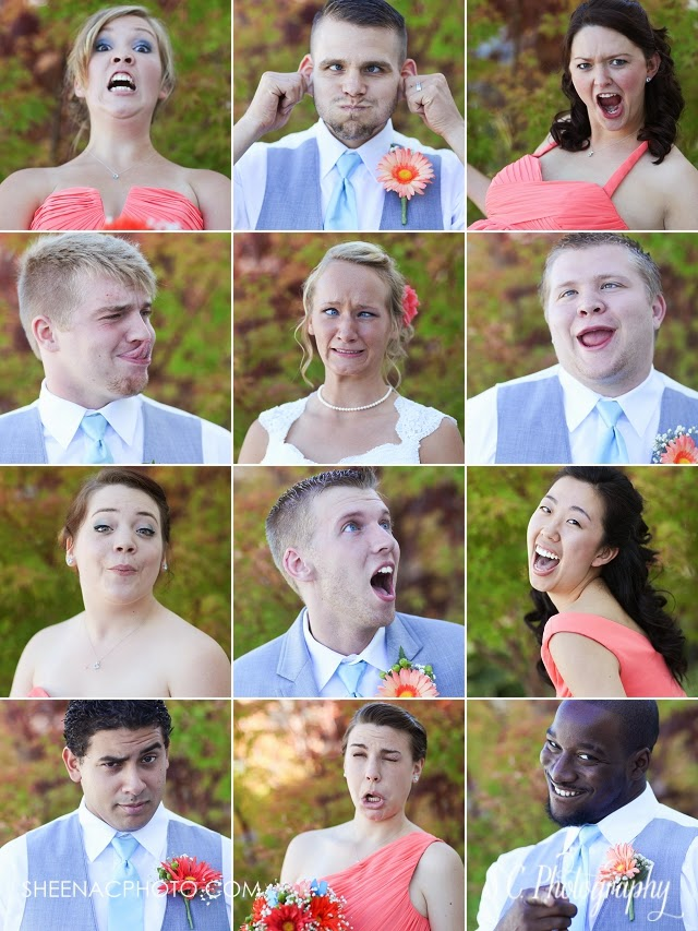Bridal wedding party funny faces collage