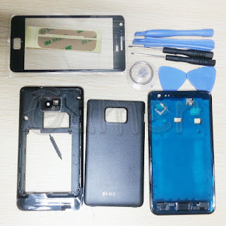 Full Housing Case + Front Glass Screen tools for Samsung Galaxy S2 i9100 Black
