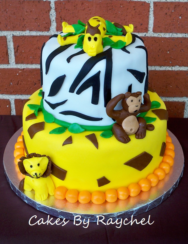 This 2 Tier Safari Cake Is The Perfect Boys Baby Shower Cake. I Love The  Way It Turned Out. I Think I Could Have Done Better On The Animals, But  They Still ...