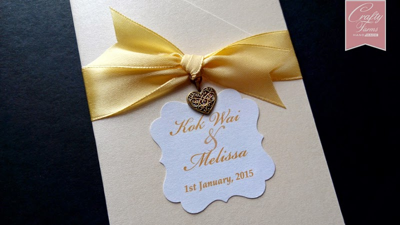 Champagne Gold Theme Pocket Wedding Card with Love Charm with Ribbon knot