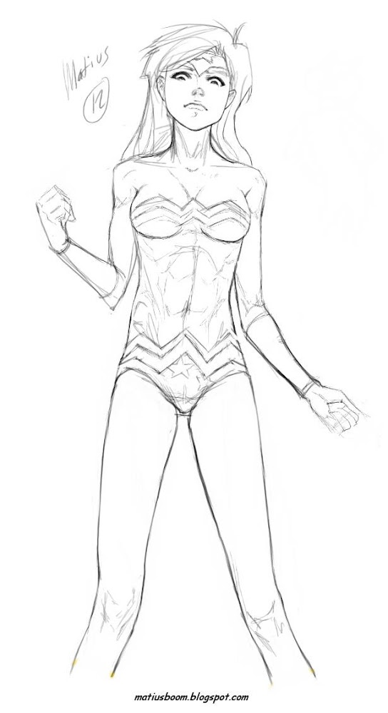 Wonder Woman Young Mujer maravilla draft illustration